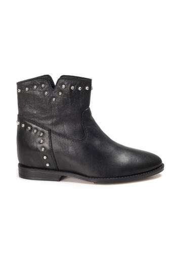 Shu Talk black INUOVO Leather Studs Cowboy Ankle Boots 9AE9FSH042DC75GS_1