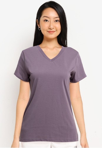 Tolliver red V Neck Basic Short Sleeve Tee 31F47AA4B0FD0EGS_1