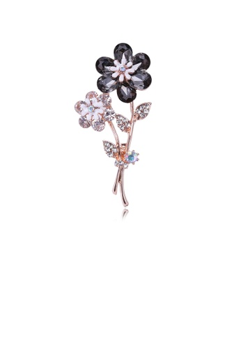 Glamorousky black Fashion and Elegant Plated Gold Flower Brooch with Black Cubic Zirconia 562DAACC60FFF2GS_1