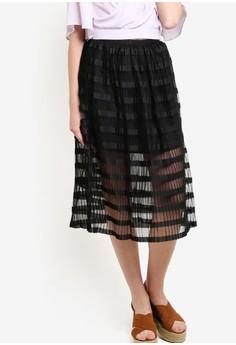 【ZALORA】 Premium 起褶及膝裙