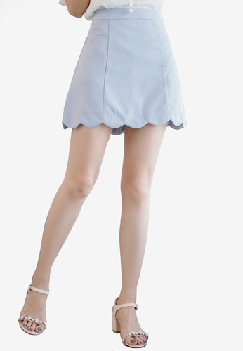 Eyescream blue Scallop Hem A-line Skirt 5EB9DAA33A5551GS_1