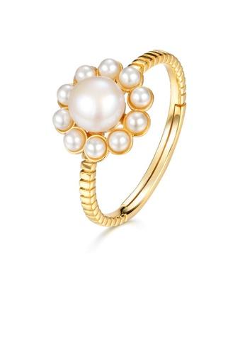 SUNSET gold Premium 925 Sliver Pearl Ring 08771ACAFA8088GS_1