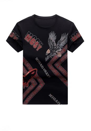 Twenty Eight Shoes black VANSA Fashion Beast Print Short-sleeved T-shirt VCM-TAH002 AFE0DAA76D506DGS_1