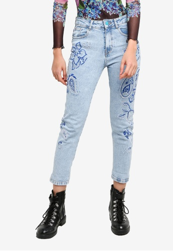 Desigual blue Paisley Embroidery Cropped Jeans 560EEAAB841FD6GS_1
