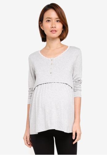 JoJo Maman Bébé grey Maternity Long Sleeved Pyjama Top 19880AA29EFFE5GS_1