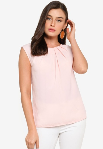 FORCAST pink Annalise Pleat Neck Top CC941AAB128274GS_1