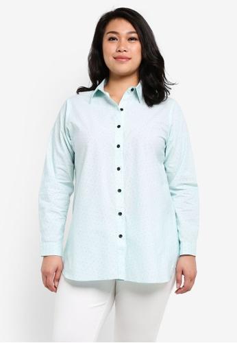 Ex'otico green Plus Size Long Sleeve Shirt EX373AA0RUVFMY_1