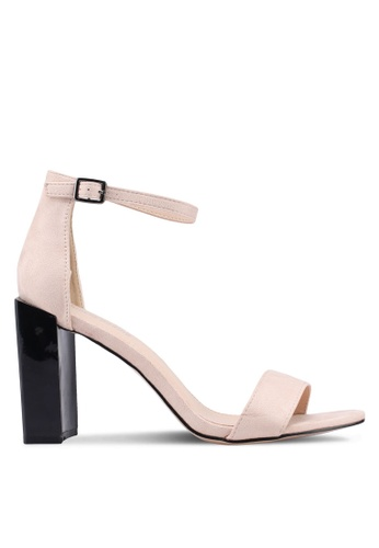 Public Desire 粉紅色 麂皮一字帶粗跟涼鞋 CB874SH38150D2GS_1