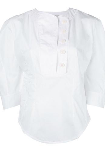 Stella Mccartney white Stella Mccartney Round Neck Statement Sleeve Top in White 7D6FFAA42C710EGS_1