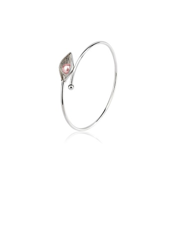 Glamorousky pink 925 Sterling Silver Fashion Simple Leaf Freshwater Pearl Bangle 45A7DAC8DF60F3GS_1