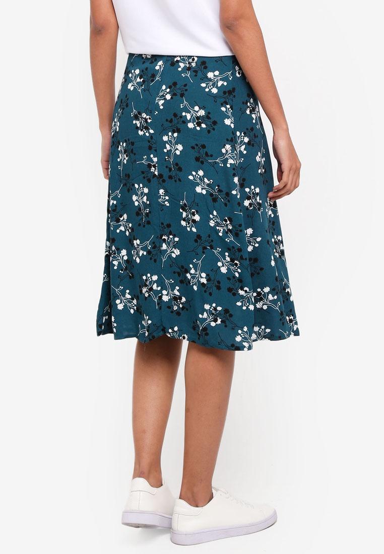 Cotton Ryder Skirt Disty Green Velvety Woven On Midi Floral Nadene wxrESCfxqI