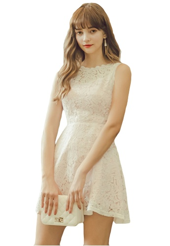 Eyescream white Lace Flare Dress 03219AA039F4C3GS_1