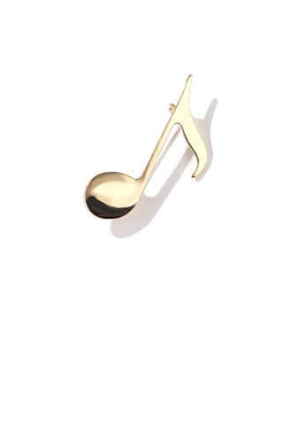 Glamorousky silver Simple and Fashion Plated Gold Musical Note Brooch 4CBD3AC2E70B45GS_1