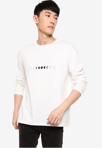 ZALORA BASICS white Moon Phases Oversized T-Shirt BDEEAAA4CAFD38GS_1