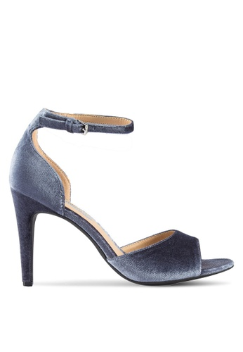 Dorothy Perkins 海軍藍色 天鵝絨繞踝高跟涼鞋 DO816SH16UILMY_1