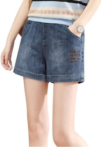 A-IN GIRLS navy Denim Shorts With Elastic Waist 9A26DAA24B5DD8GS_1