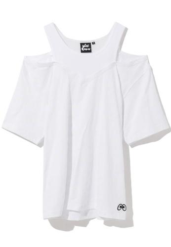 Mini cream white Logo shoulder cutout tee 2B73AAAD095C82GS_1