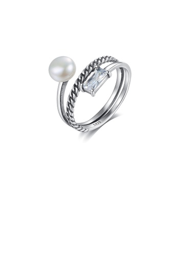 Glamorousky white 925 Sterling Silver Simple Fashion Geometric Twist Freshwater Pearl Adjustable Ring with Cubic Zirconia 76254AC7AB63B8GS_1