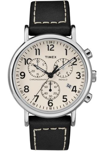 TIMEX black Timex Weekender Chrono - Grey Strap, Beige Dial (TW2R42800) TI857AC0FOYLSG_1