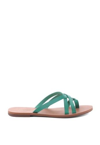 Anacapri 綠色 交叉繞帶平底涼鞋 77CDASH3303D96GS_1