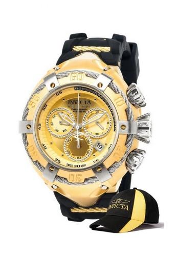 INVICTA gold Invicta Bolt Men 52mm Case  Stainless Steel, Silicone Strap  Dial Quartz Watch 21352 w/ Cap 44223AC4B8C0E3GS_1