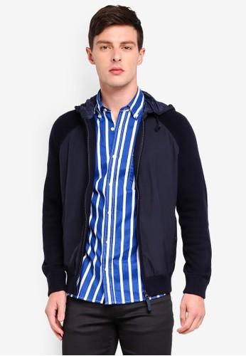 MANGO Man blue and navy Chaqueta Hooded Cardigan BAF82AA0AC72EDGS_1