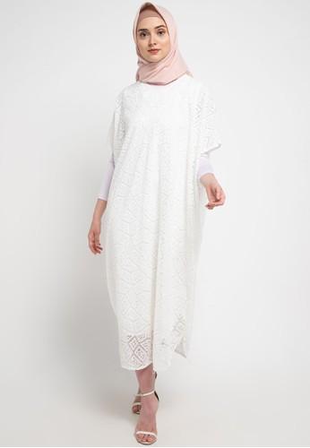 Chic Simple white Crochet Lace Neck Line Kaftan DE14CAAB93081BGS_1