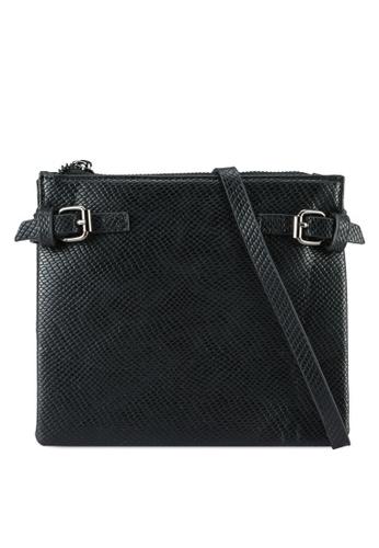 Something Borrowed black Double Buckle Exotic Crossbody Bag 7EC3CAC0111A8FGS_1