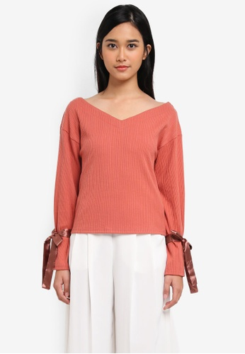 Yoco red Ribbon Sleeved Blouse 83B99AA51EDEF3GS_1