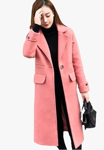 Halo pink Winter Lapel Trench Long Coat 6C17FAAE4D39C7GS_1