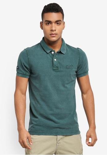 Superdry green Vintage Destroy Short Sleeve Pique Polo Shirt 03806AA2988A3FGS_1