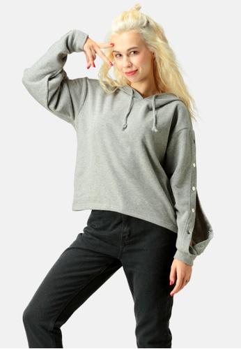 London Rag grey Snap Button Sleeve Hoodie 97053AA8ABB353GS_1