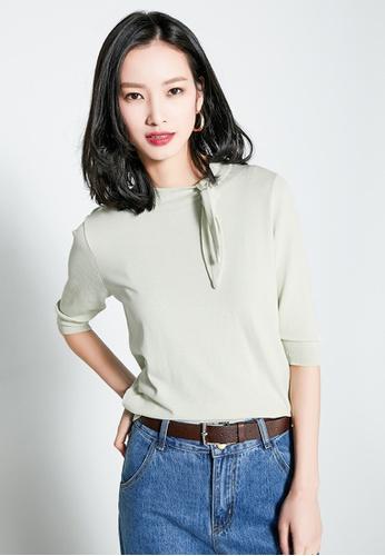 Sunnydaysweety green Temperament  Bow Neck Knit Short-Sleeve Top 9D0B0AA1889661GS_1