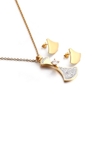 Glamorousky white Fashion and Simple Plated Gold Geometric Fan-shaped 316L Stainless Steel Necklace and Stud Earrings Set 41559ACF481A6FGS_1