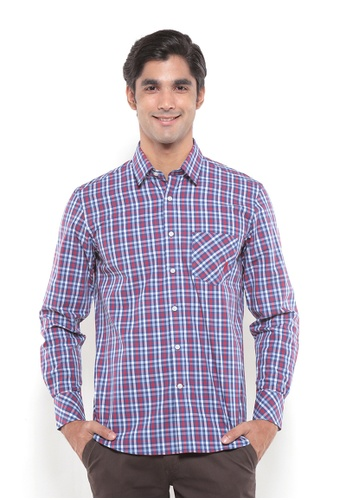 POLO HAUS multi Polo Haus Men Woven Shirt (Red/Blue) PO783AA69BJEMY_1