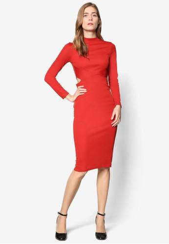 腰部鏤空長袖及膝連身esprit hk store裙, 服飾, 服飾