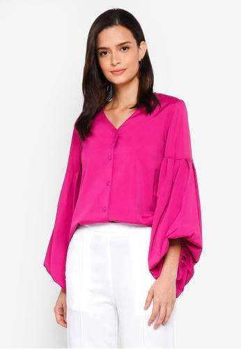 Lubna purple Hi Lo Puff Sleeve Top AA202AA37328FEGS_1