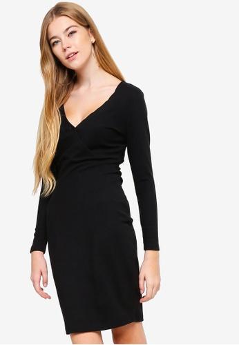 Something Borrowed black Ribbed Wrap Bodycon Dress 0FBFDAA73F3B7DGS_1