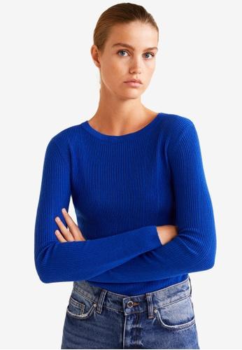 Mango blue Ribbed Fine-Knit Sweater AEEB1AA1B281E0GS_1