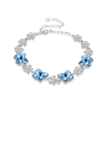 Glamorousky blue 925 Sterling Silver Blue Butterfly Bracelet with Austrian Element Crystal EC685AC56D3E22GS_1