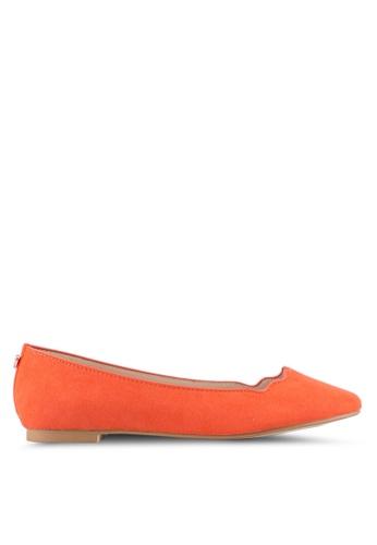 Velvet orange Scalloped Edge Ballerina Flat F09AESH3969035GS_1