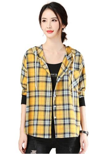A-IN GIRLS yellow Fashion Loose Check Shirt Jacket B6550AAA9E91E0GS_1