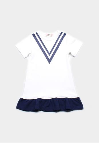 Mini Moley white Chevron Design Girl's Shift Dress 043EEKAAA3FF43GS_1
