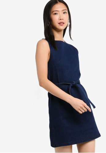 ZALORA BASICS blue Basic Denim Dress With Tie 50BC9AAE0B5528GS_1