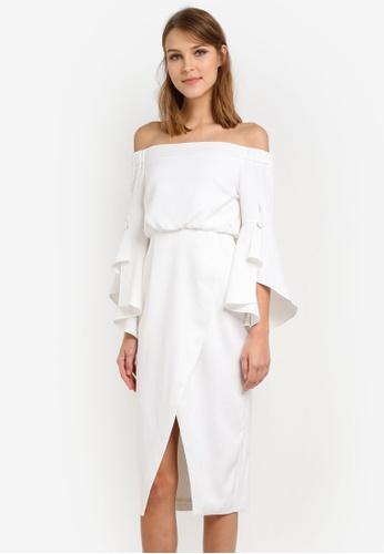 Lavish Alice white Off The Shoulder Midi Dress LA457AA0SAN6MY_1