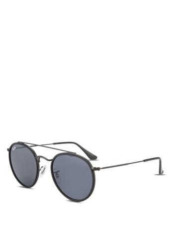 Ray-Ban black Round Double Bridge RB3647N Sunglasses RA896GL91GROMY_1