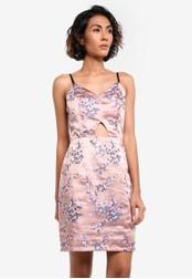 Glamorous pink Floral Print Cut Out Dress GL059AA0RL35MY_1