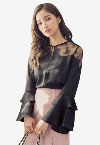 YOCO black Layered Ruffle Sleeve Blouse 4EDF6AA921AF19GS_1