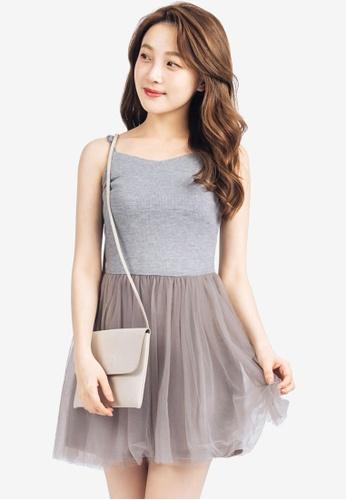 Tokichoi grey Babydoll Tulle Dress A2767AA896F3BDGS_1