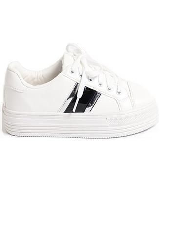 Crystal Korea Fashion 白色 韓國製新款百搭綁鞋帶厚底休閒鞋 0BFD7SH01EEFC1GS_1